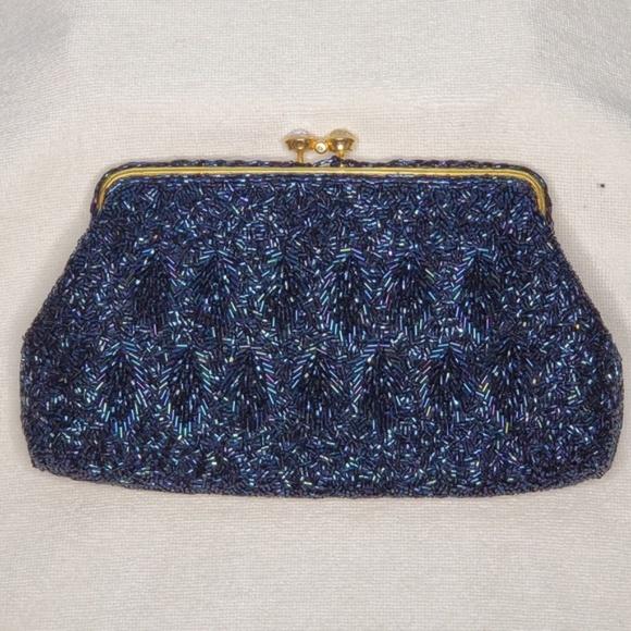 Handbags - Blue Beaded Clutch/Handbag